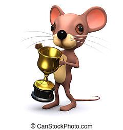 trofeo, gana, ratón, oro, 3d
