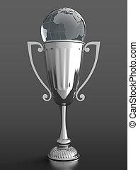 trofeo, globo vetro, tazza