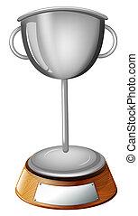 trofeo, grigio, tazza