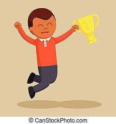 trofeo, hombre, africano, ganando