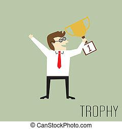 trofeo, hombre de negocios, tenencia