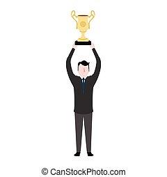 trofeo, hombre de negocios, tenencia, dorado