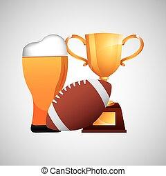 trofeo, icone, padri, football, birra, giorno