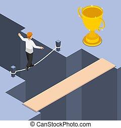 trofeo, isometrico, ottenere, pericoloso, uso, modo, uomo affari, shortest