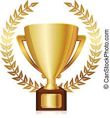 trofeo, laurels, brillante, oro