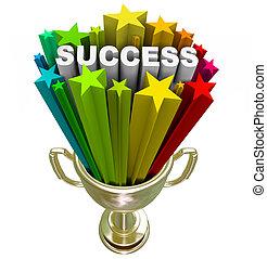 trofeo, logro, -, éxito, ganando