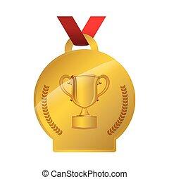 trofeo, medaglia, premio, tazza
