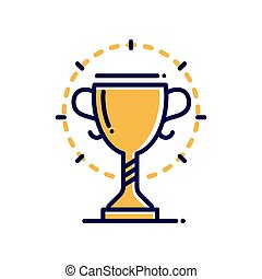 trofeo, moderno, -, solo, vector, línea, icono