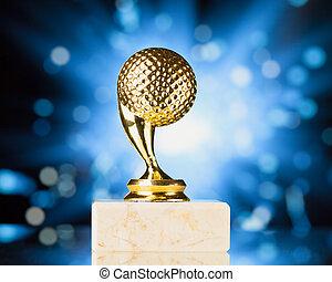 trofeo, palla blu, golf, scintille, contro, fondo, baluginante