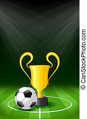trofeo, palla calcio, fondo, premio