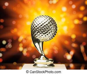 trofeo, palla, golf, scintille, contro, fondo, baluginante