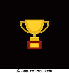 trofeo, plano, taza, premio, vector, diseño, style.