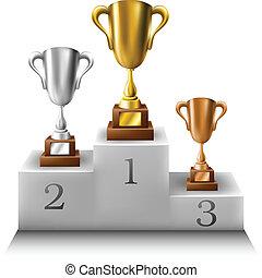 trofeo, podio, conjunto, ganadores