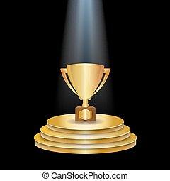 trofeo, podio, tazza oro