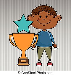 trofeo, ragazzo, stella, icona