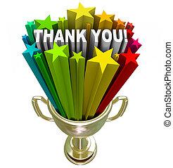 trofeo, ringraziare, apprezzamento, lavoro, sforzi, lei, riconoscimento