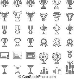 trofeo, set, premi, vettore, icone