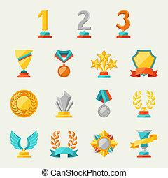 trofeo, set., premios, iconos