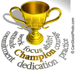 trofeo, successo, campione, parole, vincente