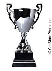 trofeo, taza, aislado, plata