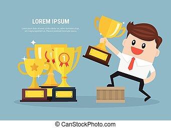 trofeo, uomo affari, presa a terra, vincente