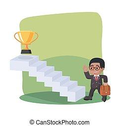 trofeo, uomo affari, presa, scala, africano