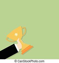 trofeo, uomo affari, titolo portafoglio mano, vincente