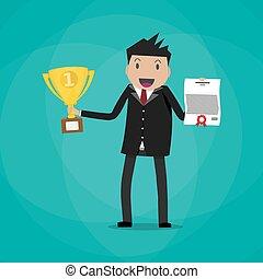 trofeo, uomo affari, vincitore, presa a terra, certificato