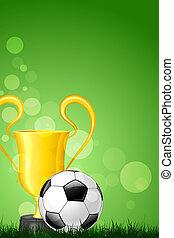 trofeo, verde, palla calcio, erba