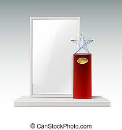 trofeo, vetro, stella