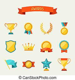 trofeo, y, premios, iconos, set.