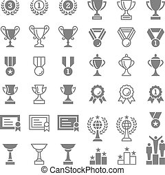 trofeo, y, premios, vector, iconos, conjunto