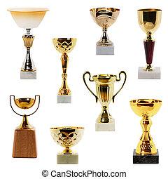trofeum, biały, odizolowany, zbiór