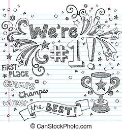 trofeum, doodles, sketchy, zwycięzca, chrupać