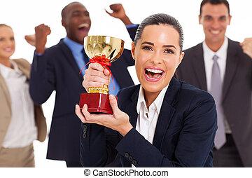 trofeum, drużyna, podniecony, handlowy, zwycięski