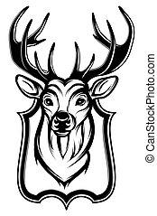trofeum, głowa, stag's, ilustracja