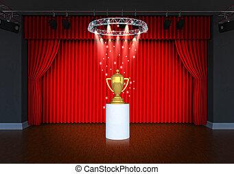 trofeum, kurtyna, teatr, czerwony, rusztowanie