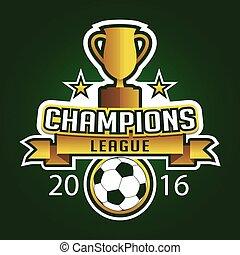 trofeum, liga, graficzny, emblemat, mistrz, logo, piłka nożna, odznaka