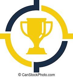 trofeum, logo, projektować, tarcza, ikona
