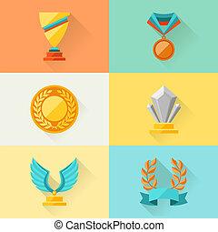 trofeum, płaski, projektować, nagrody, style.
