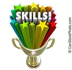 trofeum, złoty, zręczności, przeżycie, skillset, żądanie,...