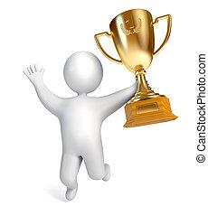 trofeum, zabawny, złoty, cup., filiżanka, ludzie, złoty, ...
