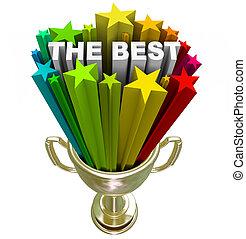 trofeum, zwycięzca, nagroda, fajerwerki, -, najlepszy