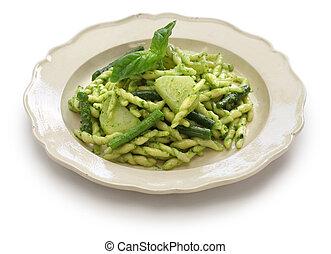 trofie pasta with pesto, green beans and potatoes, italian cuisine