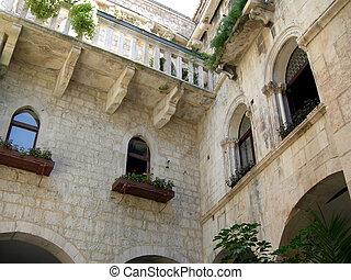 trogir, arquitectura, antiguo, croacia, croata