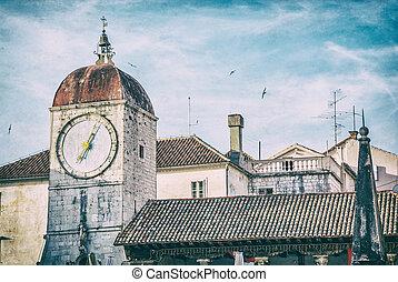 Trogir clock tower, Croatia, analog filter