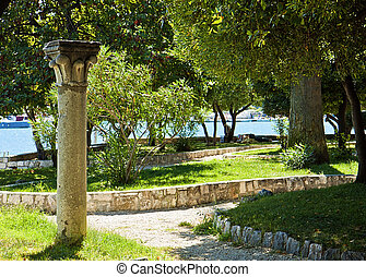 Trogir, public park at sea