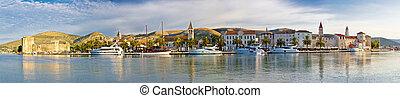Trogir UNESCO world heritage site panoramic view in Dalmatia, Croatia