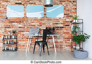 Bureau étagère vin. debout salle de séjour mur fait main