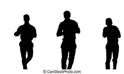 trois, appareil-photo., routine, silhouette, regarder, blanc, danse, types, sourire, chemises, synch